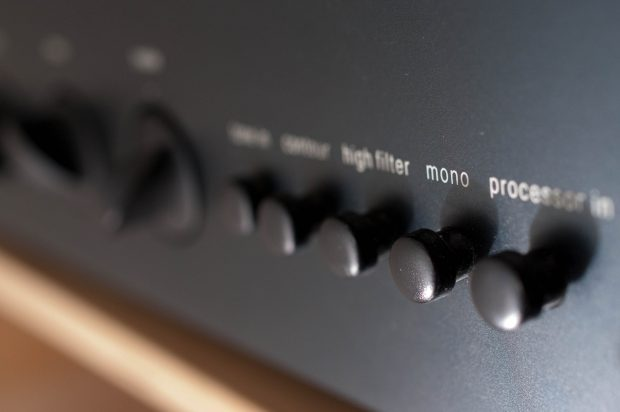 Process buttons on the front of a preamp.