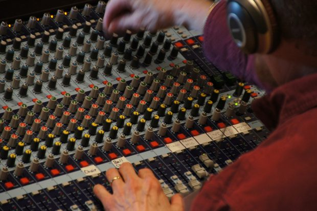 A mixing desk for editing the EQ and levels of your podcast