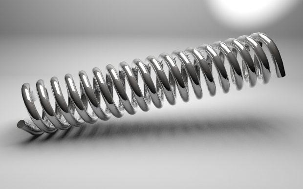 A metal spring found inside a spring reverb unit