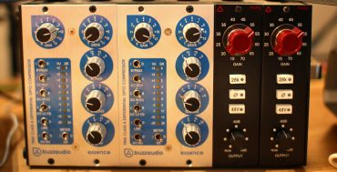 A pair of buzzaudio opto compressors in a lunchbox for parallel compression routing