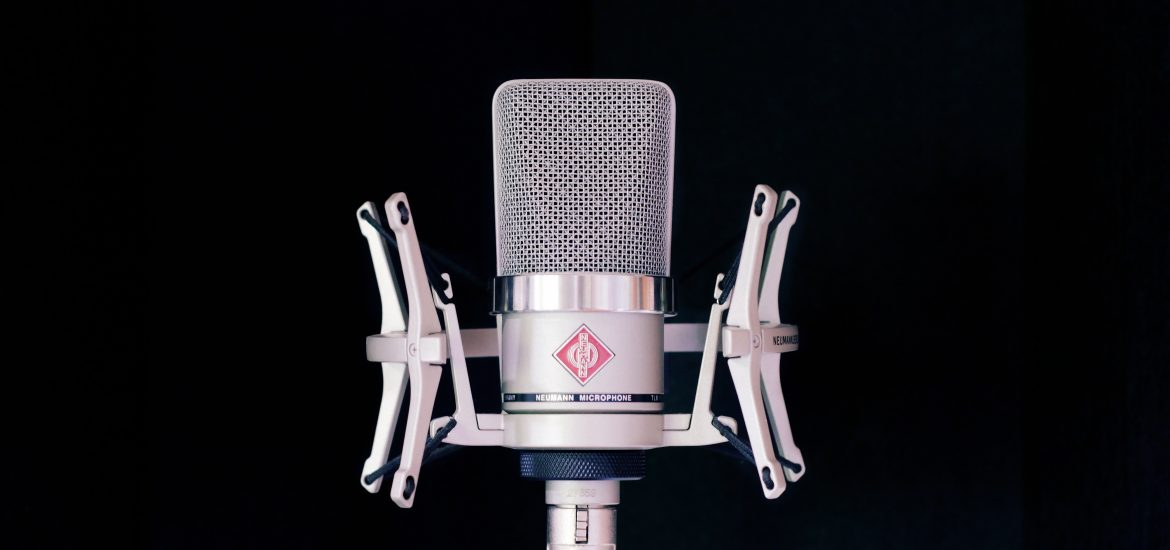 A Neumann microphone setup in a space to act as room mic.