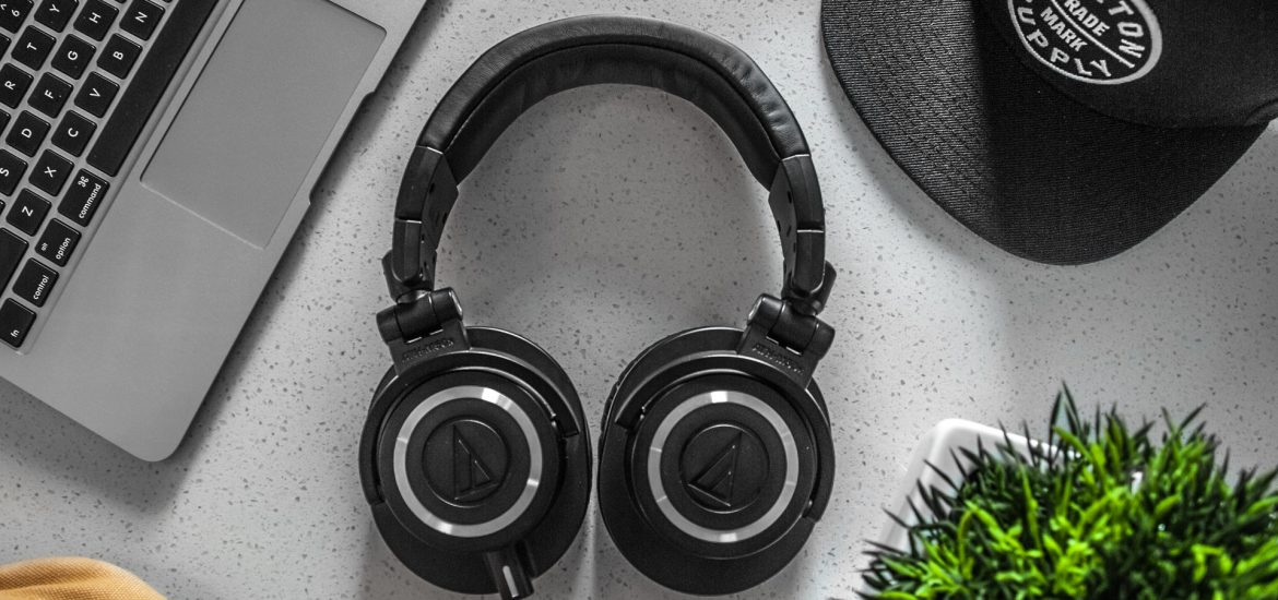 A pair of Audio Technica wireless studio headphones