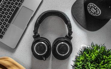 A pair of Audio Technica wireless studio headphones