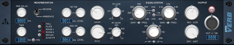 epicVerb free VST plugin for reverb