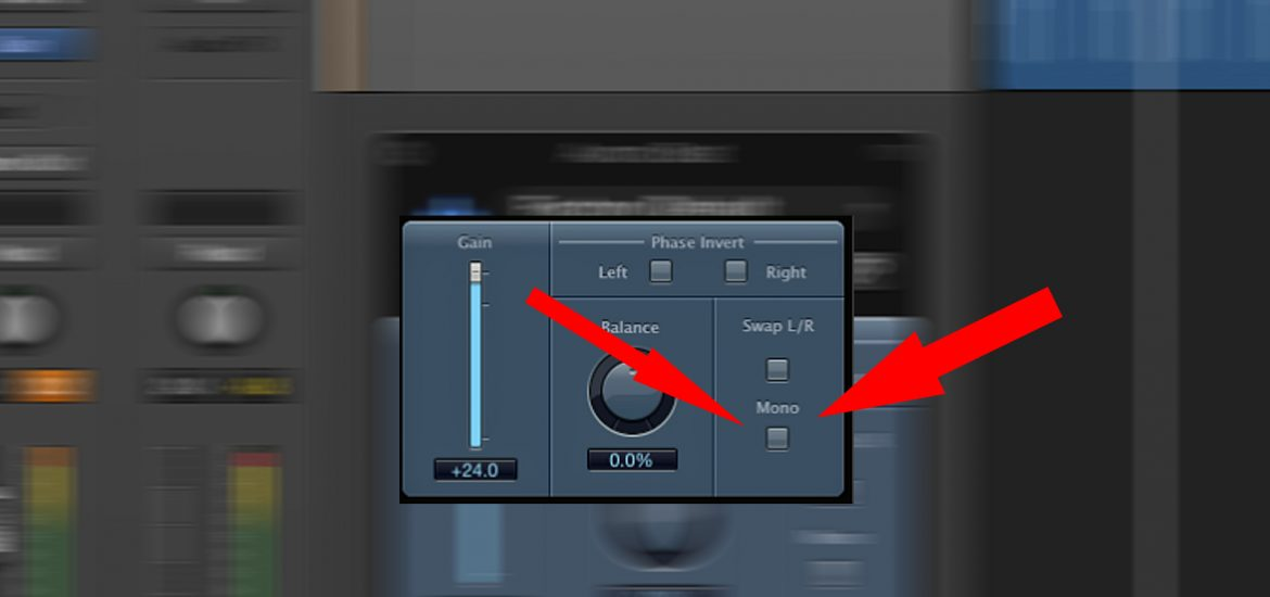 Logic Pros gain plugin with a handy button for mixing in mono