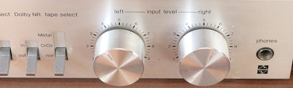 left and right levels on a stereo tape deck
