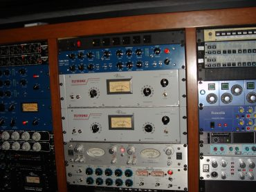 An outboard rack with a variety of compressors used for mix bus compression