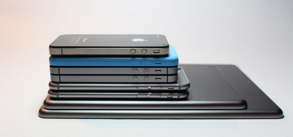 A stack of phones and tablets that support an iOS DAW