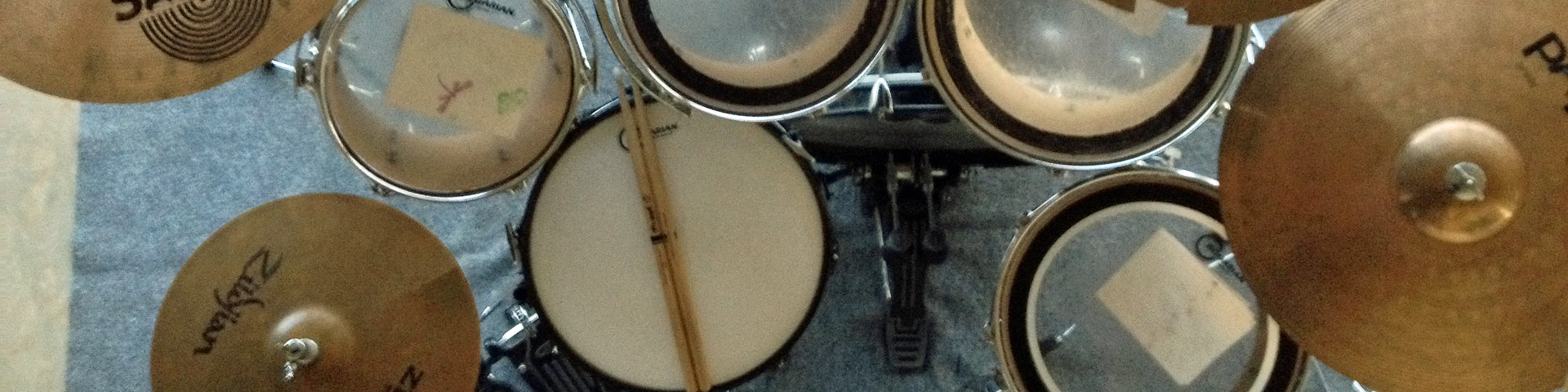 Overhead shot of a drum kit