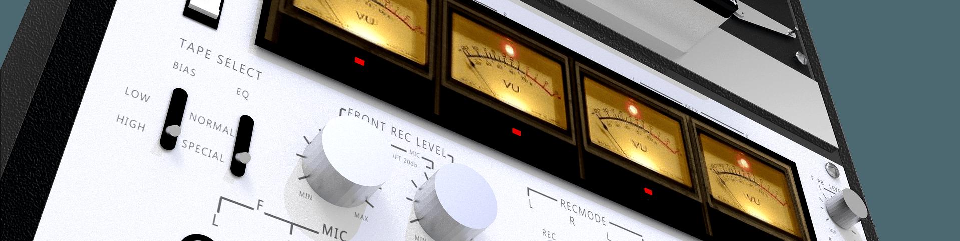VU meters on a reel to reel