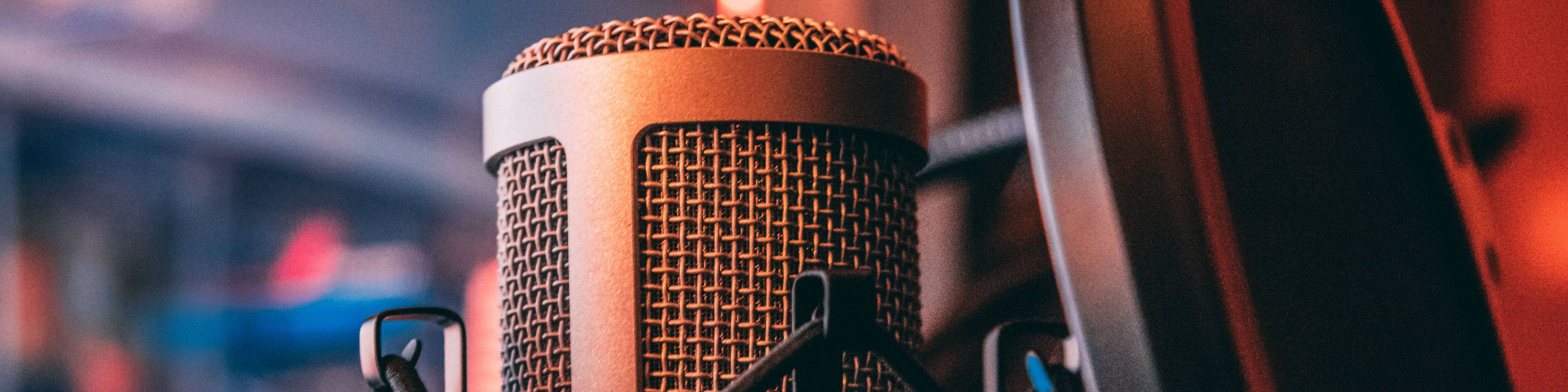 A small body, large diaphragm condenser microphone with a pop shield