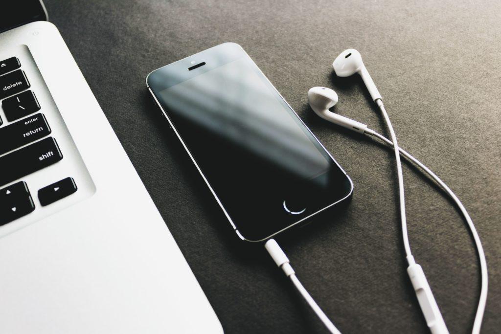 music phone and headphones mp3 and wav